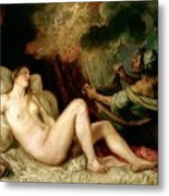 Danae Receiving The Shower Of Gold Metal Print by Titian