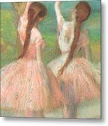 Dancers In Pink Metal Print by Edgar Degas