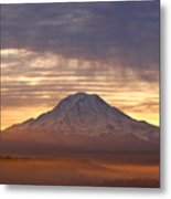 Dawn Mist About Mount Rainier Metal Print by Sean Griffin