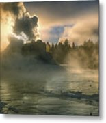 Dawn On Castle Geyser Metal Print by Sandra Bronstein