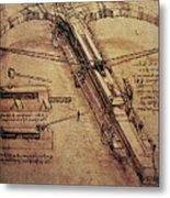 Design For A Giant Crossbow Metal Print by Leonardo Da Vinci