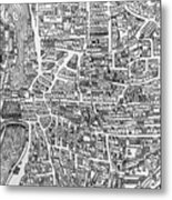 Detail From A Map Of Paris In The Reign Of Henri II Showing The Quartier Des Ecoles Metal Print by French School