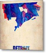Detroit Watercolor Map Metal Print by Naxart Studio