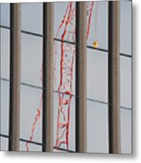 Distorted Reflection Of A Tower Crane Metal Print by Thom Gourley/Flatbread Images, LLC