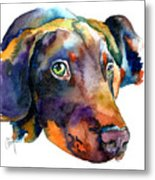 Doberman Watercolor Metal Print by Christy  Freeman