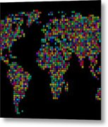 Dot Map Of The World - Multi Colours Metal Print by Michael Tompsett