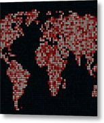 Dot Map Of The World - Red Metal Print by Michael Tompsett