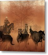 Driving The Herd Metal Print by Corey Ford