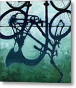 Dusk Shadows - Bicycle Art Metal Print by Linda Apple