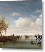 Dutch Landscape With Skaters Metal Print by Salomon van Ruysdael