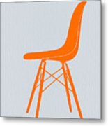 Eames Fiberglass Chair Orange Metal Print by Naxart Studio