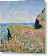 Edge Of The Cliff Pourville Metal Print by Claude Monet