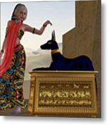 Egyptian Woman And Anubis Statue Metal Print by Corey Ford