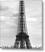 Eiffel Tower Black And White Metal Print by Melanie Viola