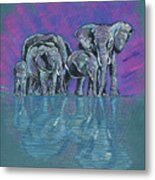 Elephant Family Metal Print by John Keaton