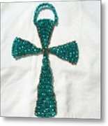 Emerald Wall Hanging Glass Beaded Suncatcher Copper Cross Metal Print by Serendipity Pastiche