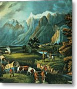 Emigrants Crossing The Plains Metal Print by Currier and Ives