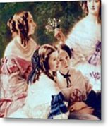 Empress Eugenie And Her Ladies In Waiting Metal Print by Franz Xaver Winterhalter