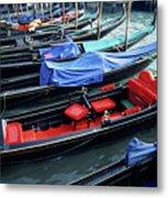 Empty Gondolas Floating On Narrow Canal Metal Print by Sami Sarkis