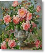 English Elegance Roses In A Silver Vase Metal Print by Albert Williams