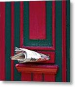 Entrance Door And Newspaper Metal Print by Heiko Koehrer-Wagner