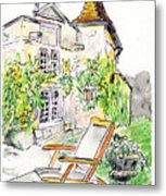 European Chateau Lounge Chair Metal Print by Tilly Strauss