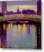 Evening - Ha' Penny Bridge- Dublin Metal Print by John  Nolan