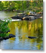 Evening Reflections At Lower Basswood Falls Metal Print by Larry Ricker