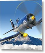 F4-u Corsair Metal Print by Larry McManus