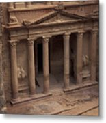 Facade Of The Treasury In Petra, Jordan Metal Print by Richard Nowitz
