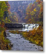 Falls Fishing Metal Print by Mark Papke