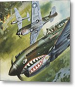 Famous Aircraft And Their Pilots Metal Print by Wilf Hardy