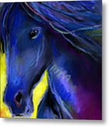 Fantasy Friesian Horse Painting Print Metal Print by Svetlana Novikova
