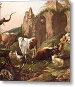 Farm Animals In A Landscape Metal Print by Johann Heinrich Roos