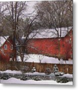 Farm - Barn - Winter In The Country  Metal Print by Mike Savad