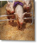 Farm - Pig - Getting Past Hurdles Metal Print by Mike Savad