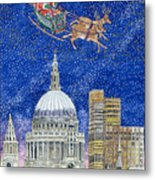 Father Christmas Flying Over London Metal Print by Catherine Bradbury