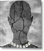 Feminine Figure With Moon Necklace Metal Print by Dave Gordon