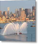 Fire Boat And Manhattan Skyline Iv Metal Print by Clarence Holmes