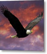 Fire Cloud And Eagle Metal Print by Clarence Alford