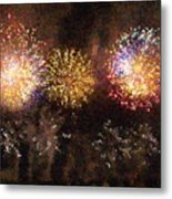 Fire Works Show Stippled Paint 3 France Metal Print by Dawn Hay