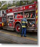 Firemen - The Modern Fire Truck Metal Print by Mike Savad