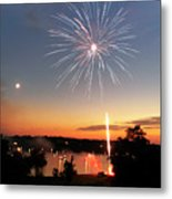 Fireworks And Sunset Metal Print by Amber Flowers