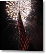 Fireworks Behind American Flag Metal Print by Alan Look