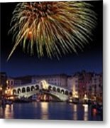 Fireworks Display, Venice Metal Print by Tony Craddock