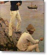 Fisher Boys Falmouth Metal Print by Henry Scott Tuke