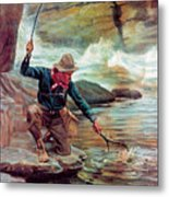 Fisherman By Stream Metal Print by Phillip R Goodwin