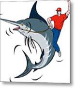 Fisherman Riding Marlin Metal Print by Aloysius Patrimonio