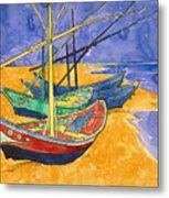 Fishing Boats On The Beach At Saintes Maries De La Mer Metal Print by Vincent Van Gogh