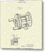 Fishing Reel 1937 Patent Art Metal Print by Prior Art Design